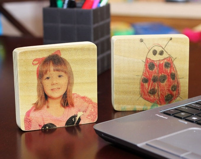 Table top photo and artwork panel - Your child and their artwork on wood!