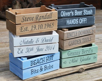Personalised shabby chic wooden apple crate /planter /hamper /storage/ wedding crate