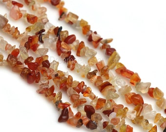 Stone Chips Beads, Natural Stone Chips, Gemstone Chips, Jewelry Chips, 35 Inch Long Strand Orange Agate Chips for DIY Jewelry Making (Y91)