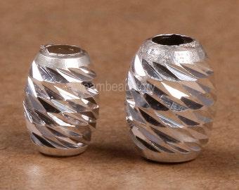 6 Pcs Silver Twist Beads, 925 Sterling Silver Swirl Oval Rice Beads, 5*7 6*8mm Screw Silver Findings