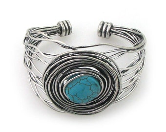 Hand Wire Wrapped Antique Silver Metal Iron Bracelet Jewelry (RSN4512GR-BR)