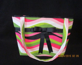 Pink, Lime Green, and Black wave pattern purse