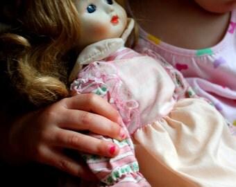 Eve pink dress vintage porcelain doll