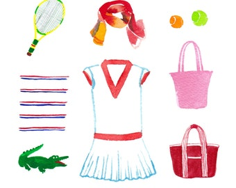 22 tennis apparel, watercolor clip art, wall art, polo shirts