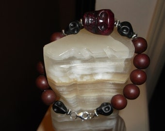 Men's Beaded Bracelet, Brown Jade Serpentine Skull Head  Beaded Bracelet, Handmade, Men's Gifts, Father's Day Gifts