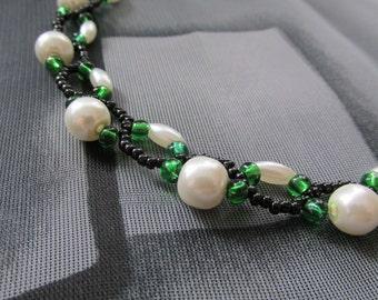 Handmade emerald green pearl, black&white beaded necklace