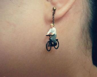 The cyclist Earring:Tiny person Earrings,miniture person,miniature figurines,Terrarium Earrings,Railroad model