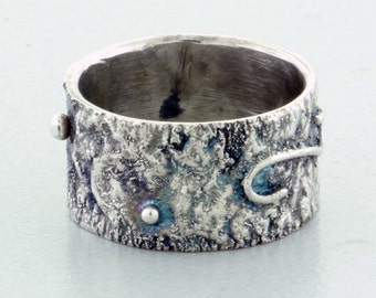 Reticulated Silver Band Ring - Size 5 1/2