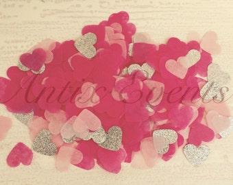 Love heart pink & silver glitter confetti, wedding, party, hen party, princess