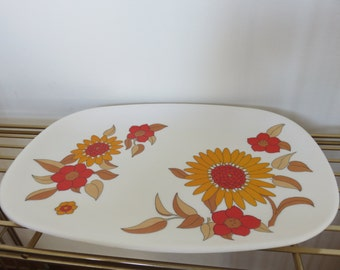 large flat melamine TEFAL FRANCE flowers pop 1970s deco vintage French tray