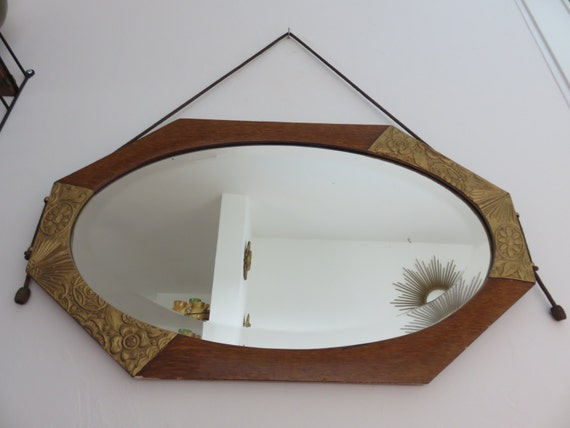 very large former bathroom mirror beveled stucco and wood art deco ...