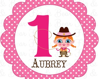 Cowgirl First Birthday Custom T Shirt Iron On Transfer Personalized FREE for Girls