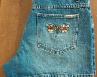 Vintage High Waisted Blue Jean Shorts with Embroidered Back Pockets Ladies Sz 11/12