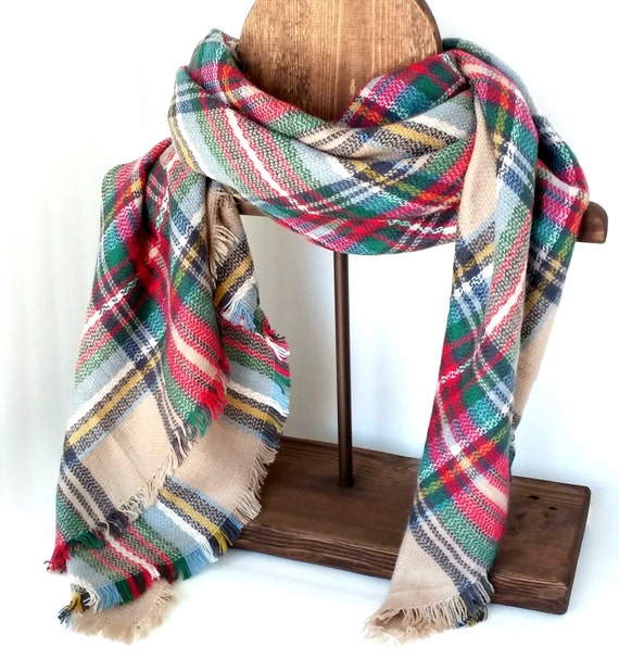 Tan Tartan Plaid Scarf Zara Scarf Blanket Shawl Scarf Accessories Scarf Women Tartan Scarf Neck Warmer Plaid Scarf Blanket Plaid Scarf