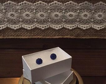 8MM Colbalt blue Crystal Ball Earrings