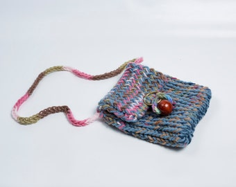 Knitted Blue and Pink Purse with Bead and Ring Closure