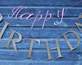 Custom Happy Birthday Banner - card stock