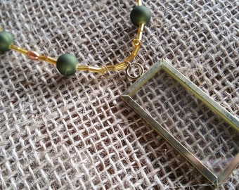 Green and Gold Picture Necklace
