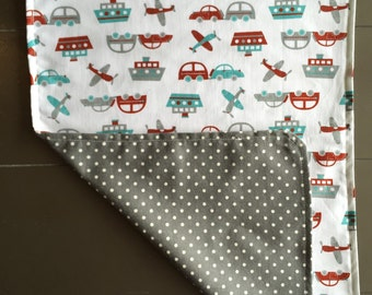 Boats, Cars, and Planes Burp Cloth