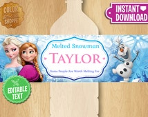 "Frozen Water Bottle Labels - Instant Download - Custom 2.5x8"" Bottle Label - Birthday Party Printable Favor Olaf Elsa Anna - EDITABLE TEXT"