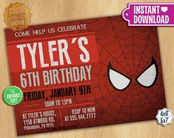Spiderman Invitation - EDITABLE TEXT - Customizable Superhero Printable Birthday Party Invite Spider-man Superheroes - Instant Download