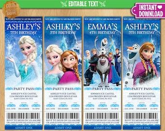 Frozen Ticket Invitation - EDITABLE TEXT - Printable Birthday Party Ticket Invite - Elsa Anna Olaf Kristoff Sven Hans - Instant Download