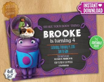 Home Invitation - Instant Download - Customizable Birthday Party Invite - Dreamworks Home Movie Invitation - Oh Tip Pig - EDITABLE TEXT