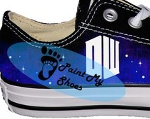 Doctor Who, Tardis, Galaxy, converse, tv shoes, free shipping in the US, V2