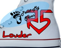 R5 Louder, converse, band Shoes, Hand painted shoes, R5 Converse, free shipping in the US