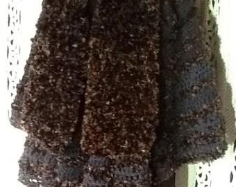 Freesize Cape original design,wool crochet,black/ brown,NEW