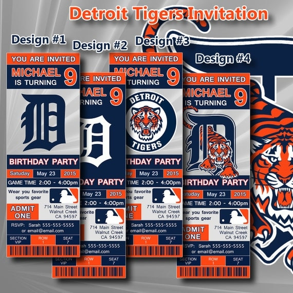 Printable Birthday Party Invitation Card Detroit Lions: Detroit Tigers Birthday Invitation Baseball Ticket By