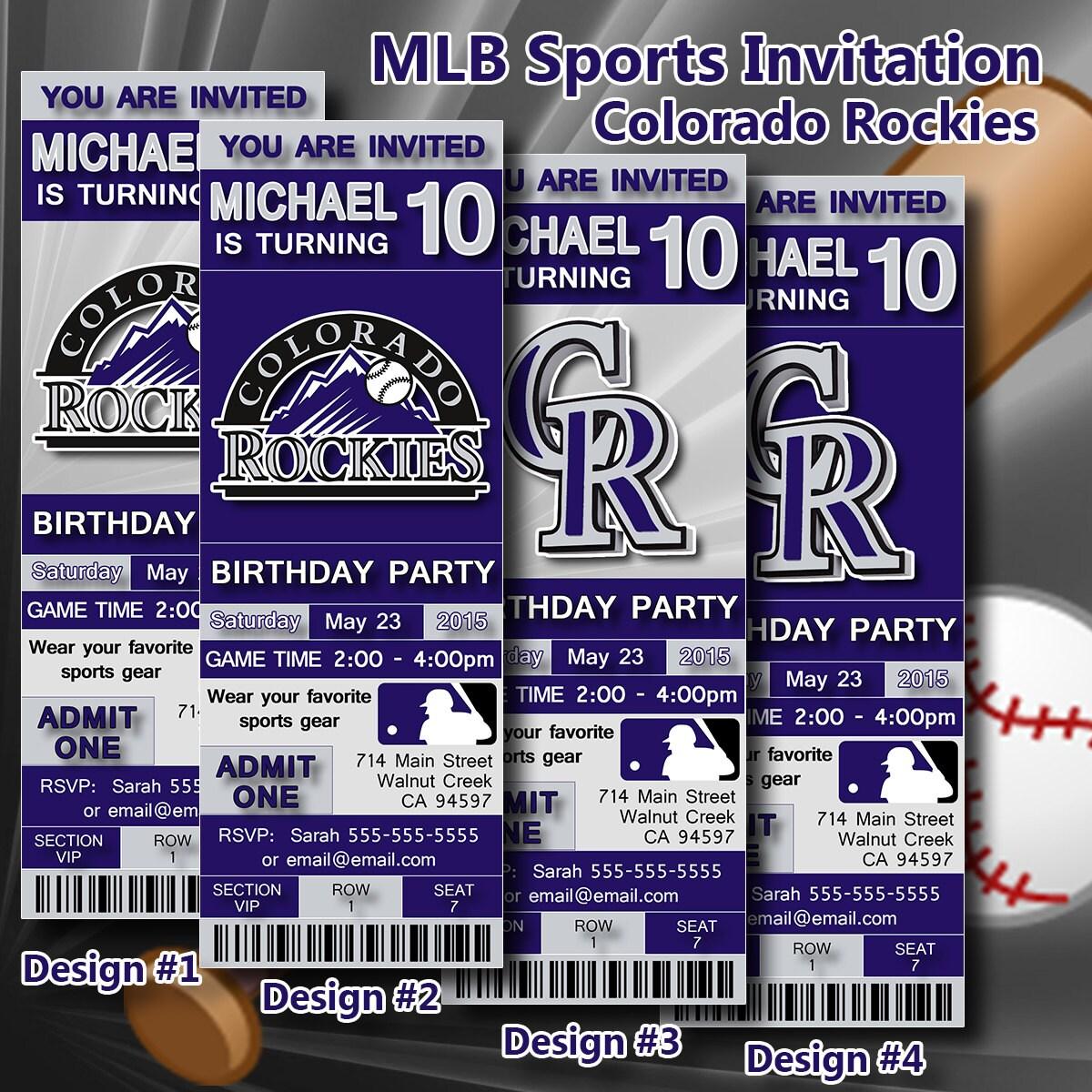 Colorado Rockies Birthday Invitation Baseball Ticket By