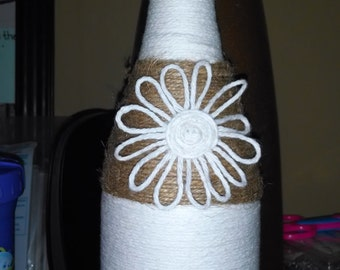 Decorative Wine Bottle with White Flower