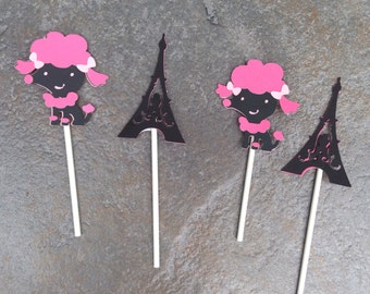Poodle cupcake toppers-Paris party-poodle party-dog party-birthday party