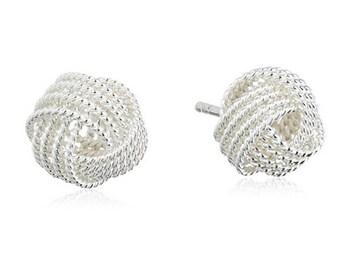 Sephla Sterling Silver Mesh Love Knot Stub Earrings