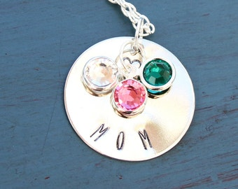 Hand Stamped Mom Necklace with Birthstones