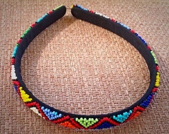 Small Zulu beaded hand made hairband from South Africa