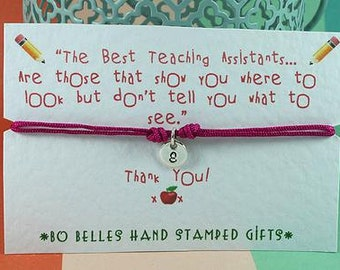 Teaching Assistants-Teacher-Nursery Assistant-Personalised Thank You Gift-Hand Stamped Bracelet-Sterling Silver Disc-End Of Term Gift UK