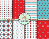 Red and Blue, Digital Paper, Blue and Red, Printable Paper, Cute Digital Paper, Cute Pattern, Planner Accessories, Cute Background, DIY