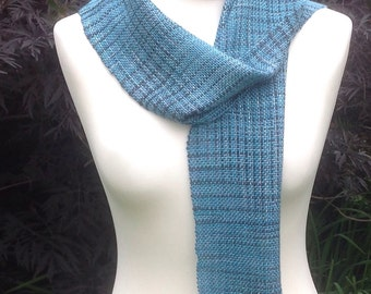 Handwoven scarf, silk scarf, hand dyed scarf, handwoven silk scarf, long scarf, blue scarf