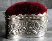 Unusual  kidney-shaped tall Derby silver plate antique jewelry box pin cushion Art Noveau