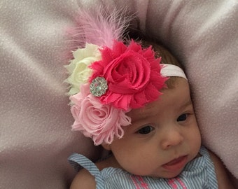 Shabby flower headband, pink flower headband, flower headband, shabby headband, newborn headband, baby flower headband
