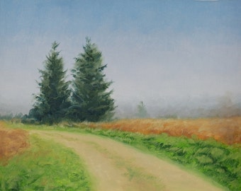 Original Landscape Painting, Path and Trees, Oil on Canvas