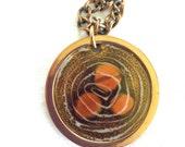 Renoir Mid-Century Copper Necklace: Round Enameled Pendant