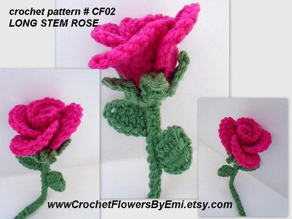 Free Crochet Long Stem Rose Pattern : Crochet flower PATTERN Long Stem Rose Crochet leaves Trim