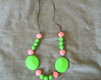 Lime green and pale pink food grade silicone teething necklace