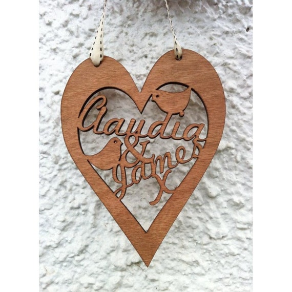 Personalised wooden heart wall art wedding valentine 39 s for Wooden heart wall decor