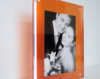 "Orange pink purple grey acrylic 20mm magnetic desk frame for 6 x 4 "" / 4 x 6 photo / picture"