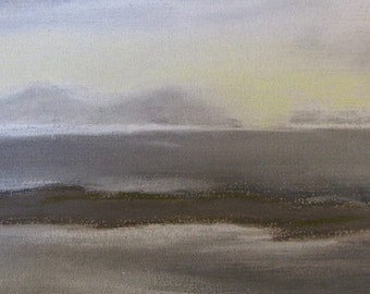 May Sunset, South Uist from Waternish, Isle of Skye - pastel drawing