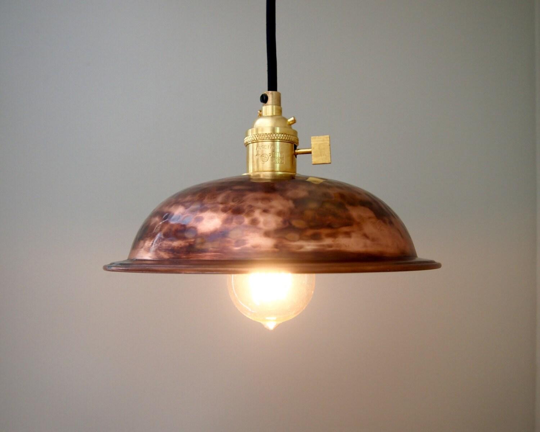 Vintage Hammered Copper Bowl Pendant Light